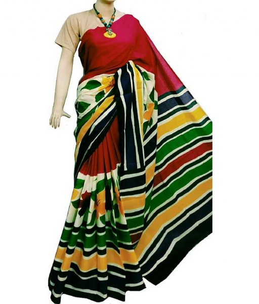 Multi color Bishnupuri Silk Saree