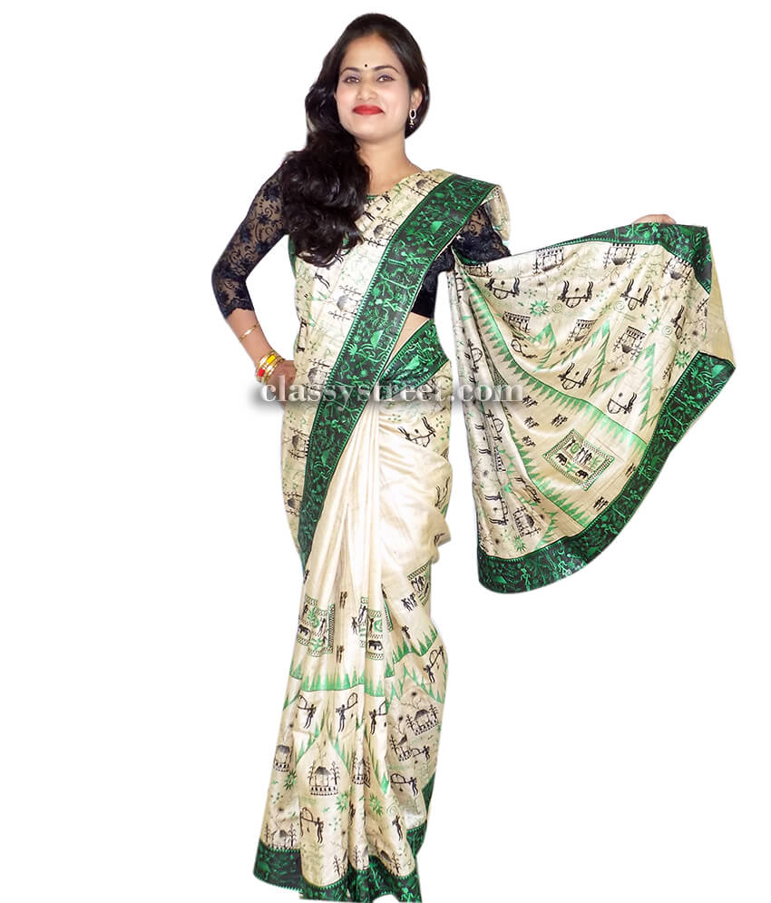 Multi Color Tussar Silk Saree