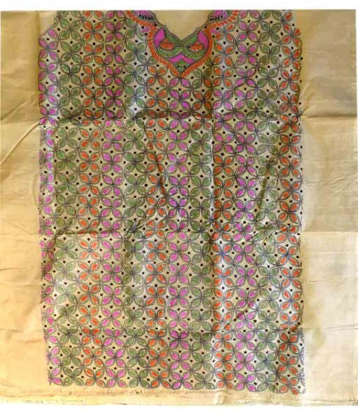 Multicolour Tussar Silk Suit Piece