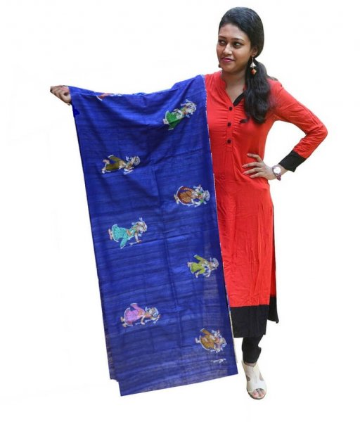 Nartaki Pattachitra Hand Painted Dupatta
