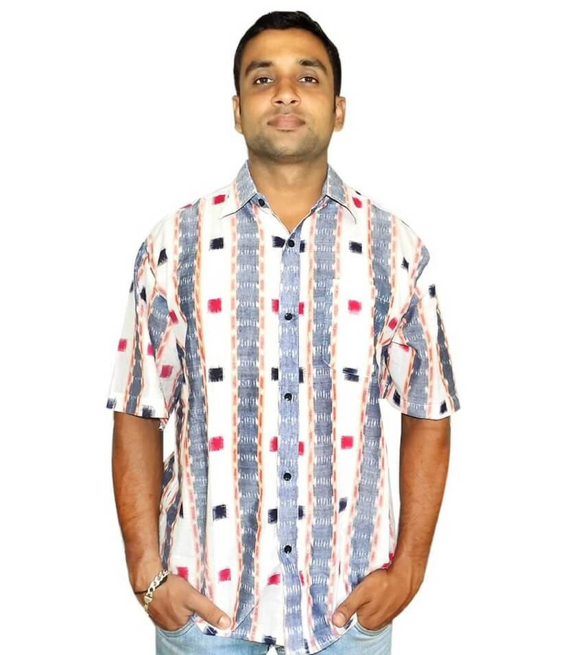 Off White Sambalpuri Ikat Shirt