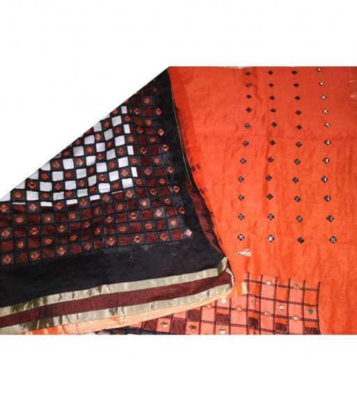 Orange & Black Cotton Silk Cut Work Saree