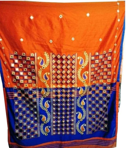 Orange & Blue Cotton Silk Cut Work Saree