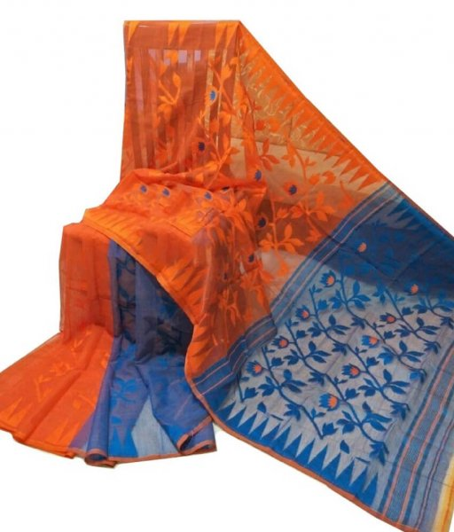 Orange & Blue Jamdani Saree