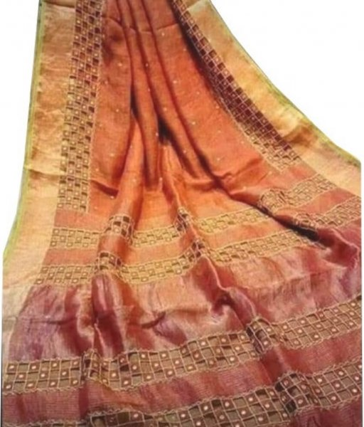 Orange & Brown linen Cut Work Saree