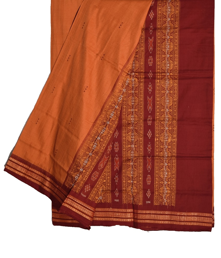 Orange Bomkai Cotton Saree