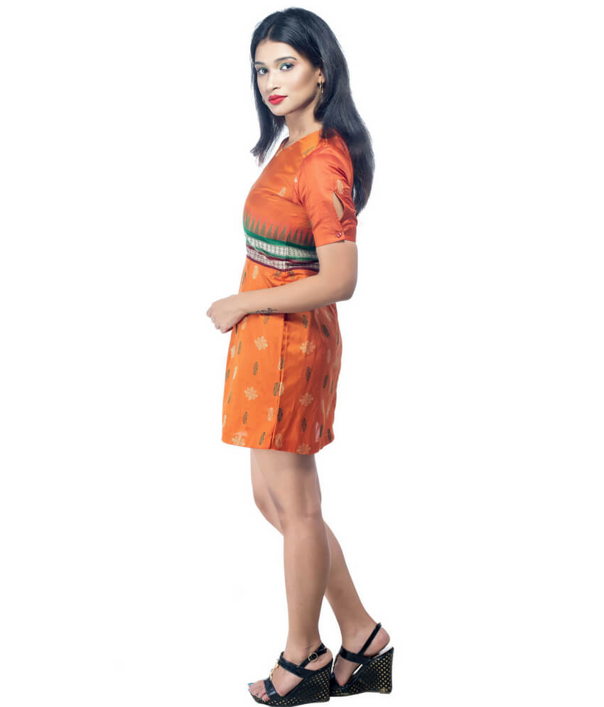 V-Neck Ikat Short Dress