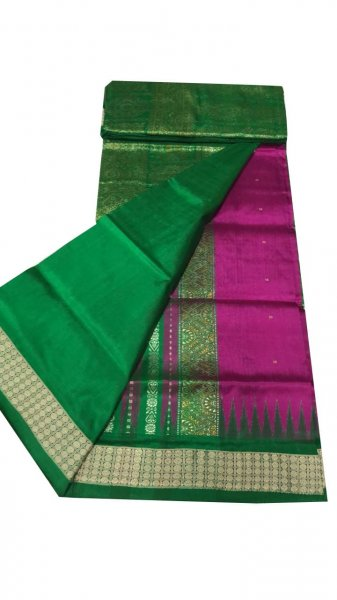 Green & turkish rose patli bomkai silk saree