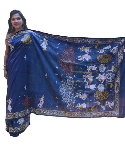 Pattachitra Hand painted Silk Saree