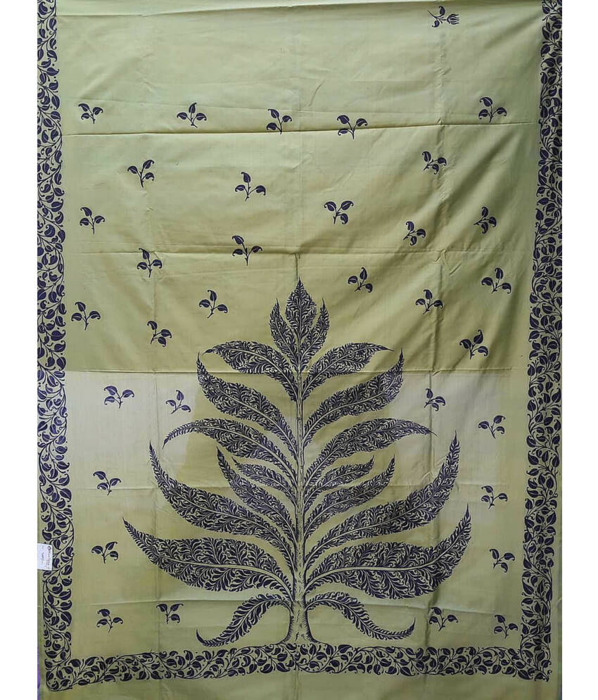 Pattachitra Tree Painting On Silk Saree
