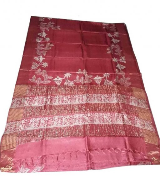 Peach Zari Tussar Silk Saree