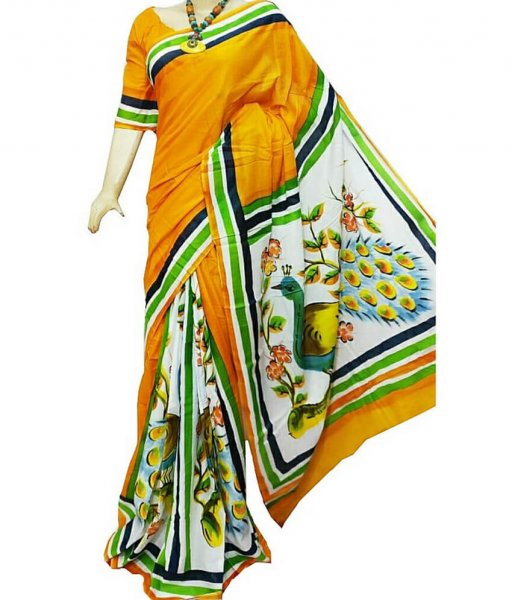 Peacock Pattern Bishnupuri Silk Saree