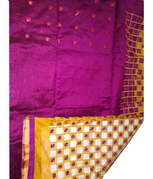 Pink & Yellow Cotton Silk Cut Work Saree