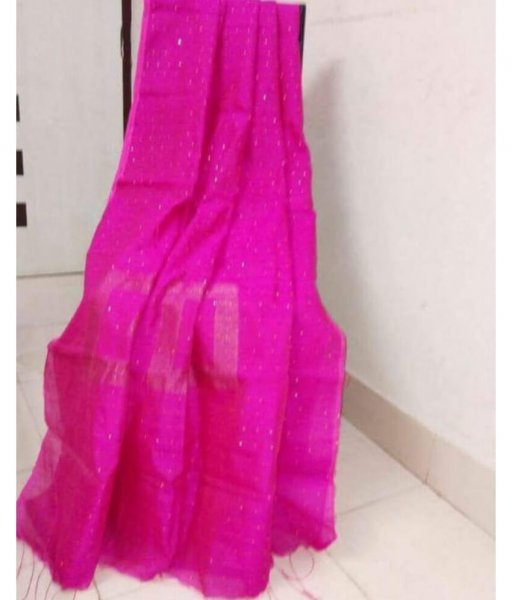 Pink Handloom Sequence Saree