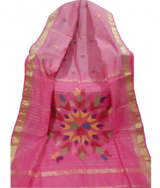 Pink Resham Silk Saree
