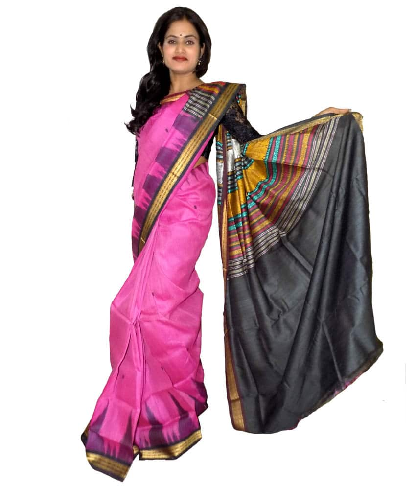 Pink Tussar Silk Saree