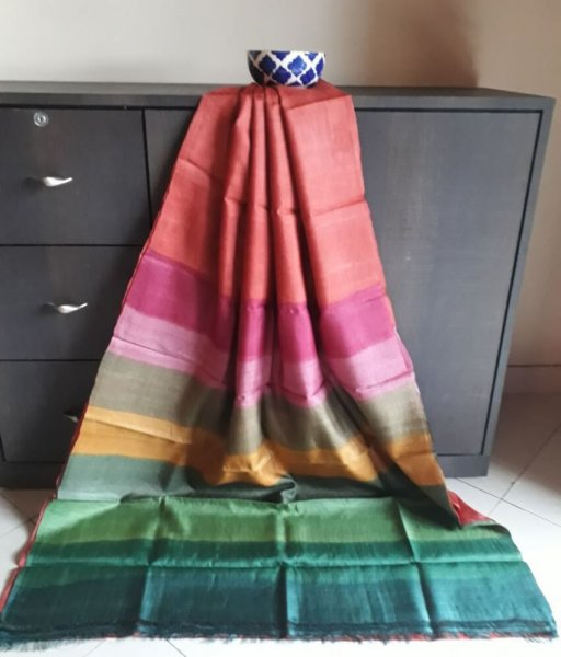 Plain Tussar Silk Multicolour Saree