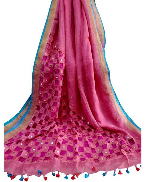 Pure Linen Cut Work Saree with Mirror and Thread Work