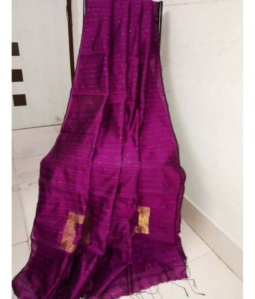 Purple Handloom Sequence Saree