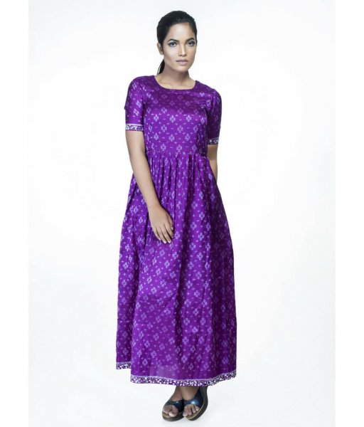 Ikat Bandha Gathered Dress With Pockets
