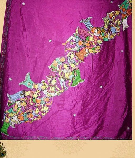 Purple Pattachitra Saree
