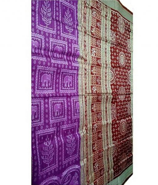 Purple Sambalpuri Bomkai Saree