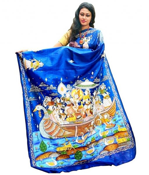 Raas Leela Pattachitra Hand Painted Blue Silk Saree