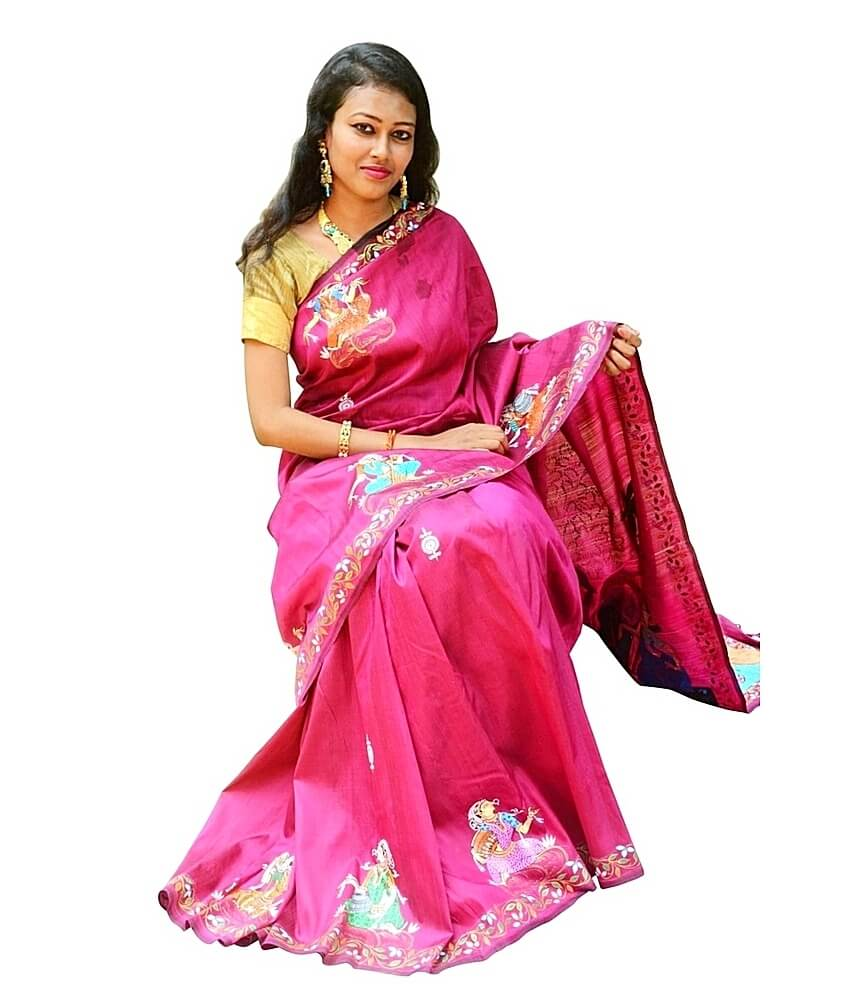 Raas Leela Patachitra Hand Painted Pink Silk Saree