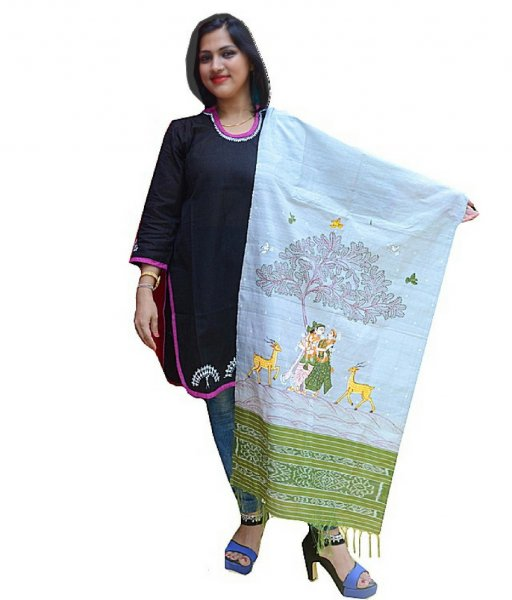 Radha Krishna Pattachitra Hand Painted Dupatta