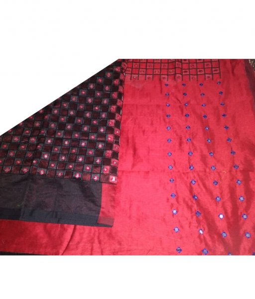 Red & Black Cotton Silk Cut Work Saree