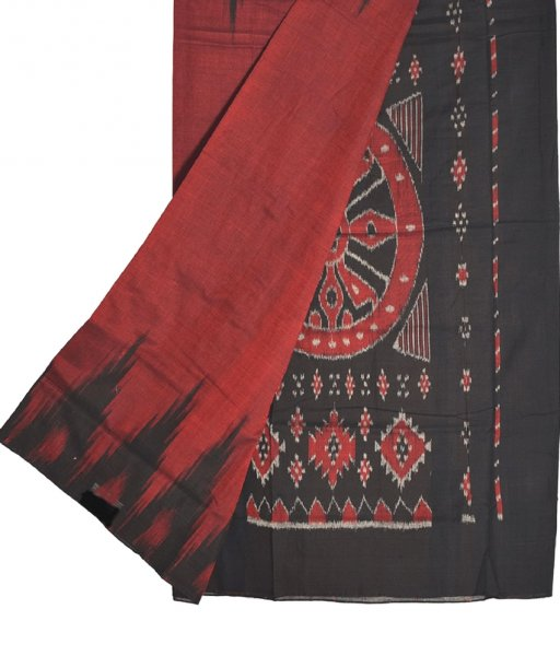 Red & Black Kargil Cotton Saree