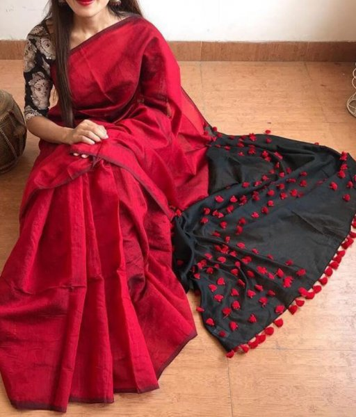 Red & Black Pallu Pum Pum Saree