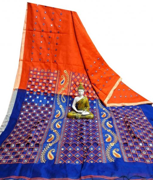 Red & Blue Cotton Silk Cut Work Saree