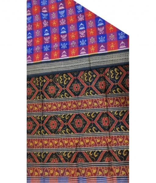 Red & Blue Sambalpuri Saree