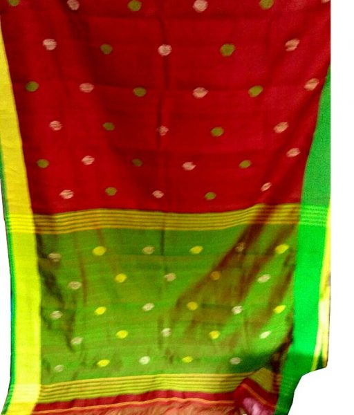 Red & Green Buti Ball Linen Saree