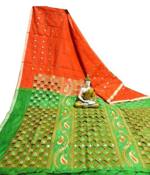 Red & Green Cotton Silk Cut Work Saree