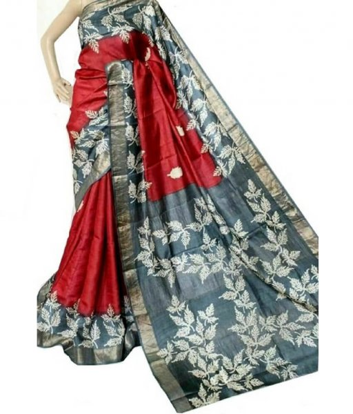 Red & Grey Bishnupuri Silk Saree