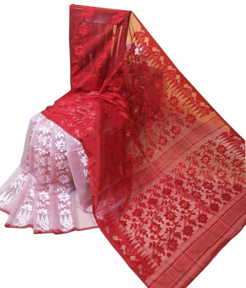 Red & White Jamdani Saree