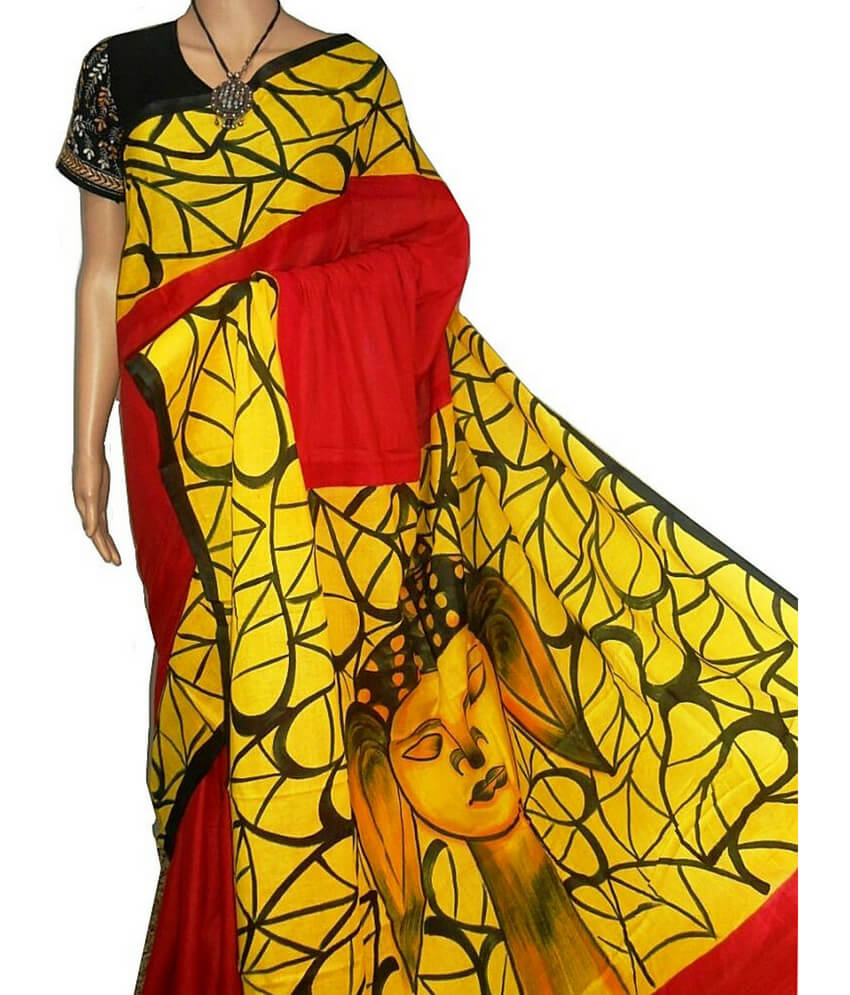 Red & Yellow Bishnupuri Silk Saree