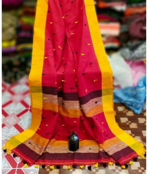 Red & Yellow Cotton Saree