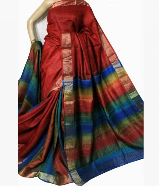 Red Bishnupuri Silk Saree