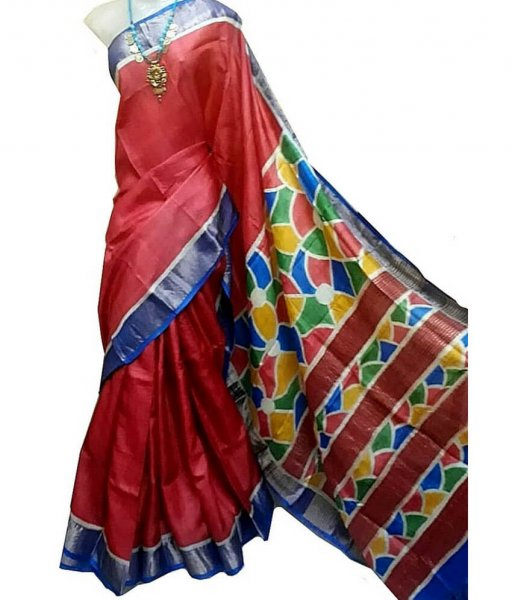 Red Bishnupuri Silk Saree With Blue Border
