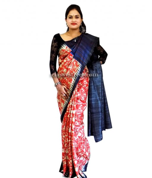 Red Hand woven Tussar Silk Saree