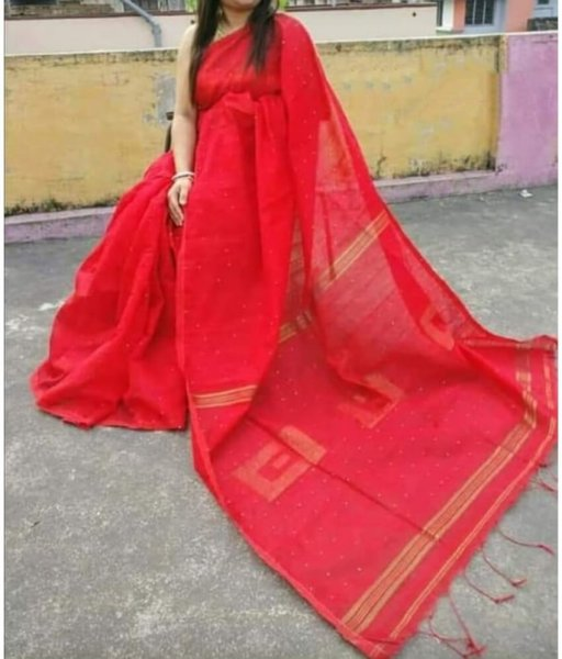 Red Handloom Sequence Saree