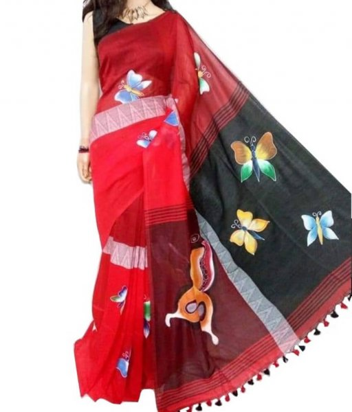 Red Madhyamoni Hand Printed Saree