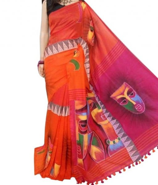 Red Madyamani Hand Printed Saree
