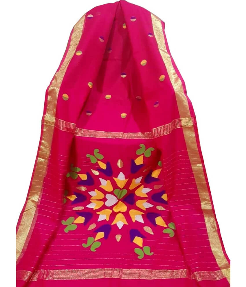 Red Resham Silk Saree