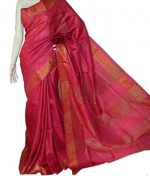Red Tussar Zari Work Saree