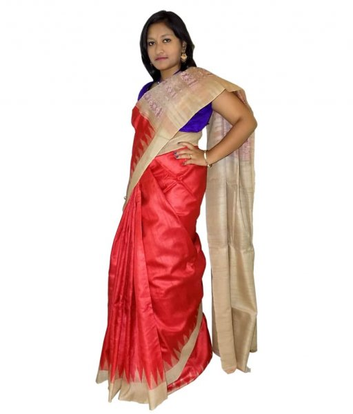 Red Tussar Silk Saree