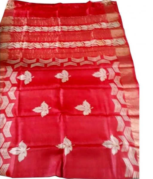 Red Zari Tussar Silk Saree